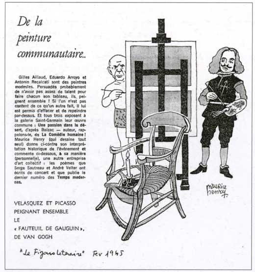 Vignetta de Figaro litteraire sui tre pittori che dipingono insieme la stessa tela, febbraio 1965