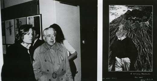 """Con Jacques Prevert alla mostra """"Recalcati 1962-1972"""" a Parigi nel giugno 1969 e Collages di Jaques Prevert: """"A Antonio Recalcati son ami Jacques Prevert"""", ottobre 1969"""