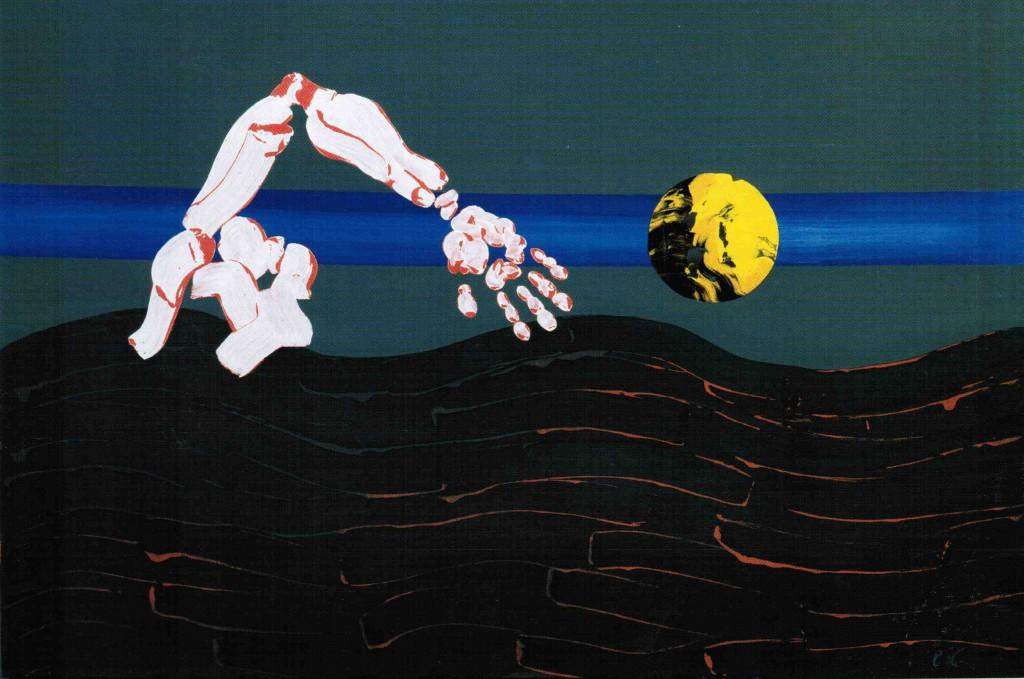 Il nuotatore solitario - Olio su tela - 80 x 120 cm