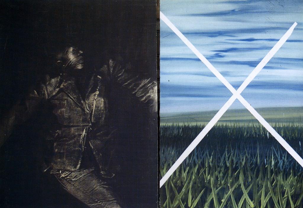 Figura e paesaggio inutile - Olio su tela - 130 x 186 cm