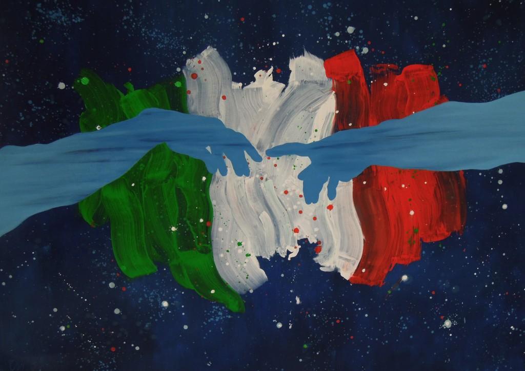 """2011 - """"1861-2011"""" L'italia - Olio su tela - 100 x 150 cm"""